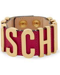 Moschino - Pink Logo Leather Wrap Bracelet - Lyst