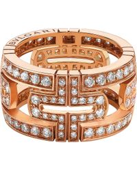 BVLGARI | Parentesi 18kt Pink-gold And Pavé-diamond Ring | Lyst
