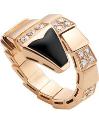 BVLGARI | Metallic Serpenti 18kt Pink-gold And Black-onyx Ring | Lyst