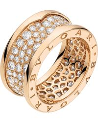 BVLGARI - B.zero1 18kt Pink-gold And Diamond Ring - Lyst