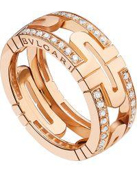 BVLGARI   Parentesi 18kt Pink-gold And Diamond Ring   Lyst