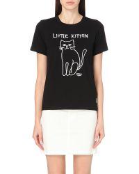 Chocoolate - Black Kitten-motif Cotton-jersey T-shirt - Lyst
