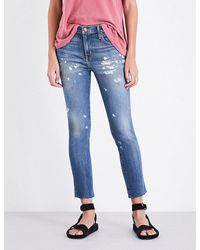 The Great | Blue The Almost Mid-rise Cropped Stretch-denim Jeans | Lyst