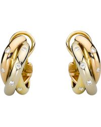 Cartier   Metallic Trinity 18ct Gold And Diamond Earrings   Lyst