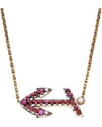 Annina Vogel | Purple Bespoke Diamond And Ruby Anchor Necklace | Lyst