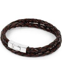Tateossian - Black Scoubidou Leather Bracelet for Men - Lyst