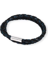 Tateossian - Blue Silver Pop Scoubidou Leather Bracelet - Lyst