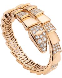 BVLGARI | Serpenti 18kt Pink-gold And Pavé-diamond Bracelet | Lyst
