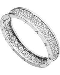 BVLGARI - Metallic B.zero1 18kt White-gold And Diamond Bangle - Lyst