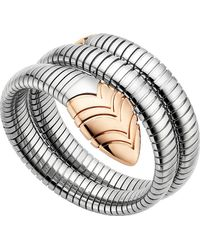 BVLGARI - Metallic Serpenti Tubogas 18kt Pink-gold And Stainless Steel Bracelet - Lyst