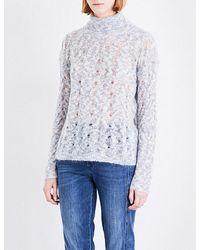Closed | Blue Roll-neck Open-knit Jumper | Lyst