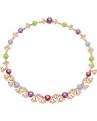 BVLGARI | Divas' Dream 18kt Pink-gold And Diamond Necklace | Lyst