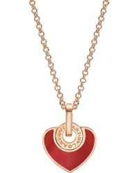 BVLGARI | Red - Cuore 18kt Pink-gold And Carnelian Necklace | Lyst