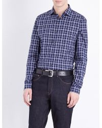 Michael Kors | Blue Caden Slim-fit Checked Cotton Shirt for Men | Lyst