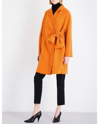 Victoria, Victoria Beckham - Orange Self-tie Crepe Coat - Lyst