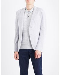 Michael Kors | Gray Birdseye-knit Cotton-blend Blazer for Men | Lyst