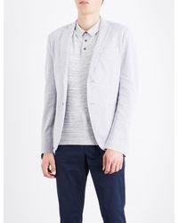 Michael Kors - Gray Birdseye-knit Cotton-blend Blazer for Men - Lyst