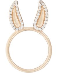 Aamaya By Priyanka | Donkey 18ct Rose Gold-plated And White Topaz Ring | Lyst