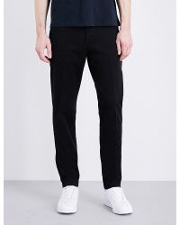 AMI | Black Seamless Slim-fit Tapered Cotton Chinos for Men | Lyst