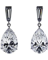 Carat* | Metallic Baguette 2ct Pear Drop Earrings | Lyst