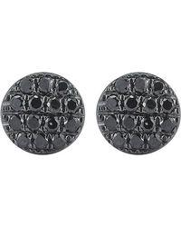 The Alkemistry | Lauren Joy Mini 14ct Black Rhodium And Black Diamond Earrings | Lyst