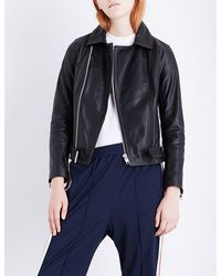 Ganni - Black Tatin Leather Jacket - Lyst