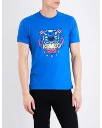 KENZO | Blue Tiger-motif Cotton-jersey T-shirt for Men | Lyst