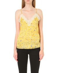 The Kooples | Yellow Lace-detail Silk-chiffon Top | Lyst