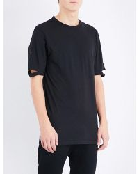 Helmut Lang | Black Notched Sleeve Cotton-jersey T-shirt for Men | Lyst