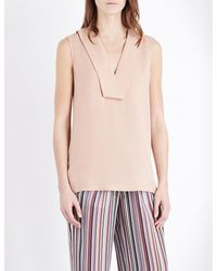 Theory | Pink Salvatill V-neck Silk-crepe Top | Lyst