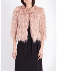 Theory | Pink Elstana Faux-fur Jacket | Lyst