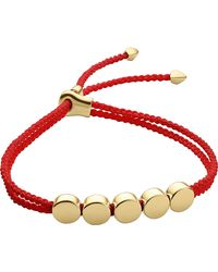 Monica Vinader | Red Linear Bead 18ct Gold-plated Friendship Bracelet | Lyst