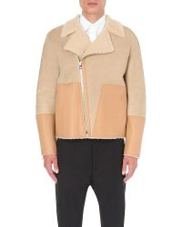 Loewe - Natural Contrast Suede And Shearling Biker Jacket for Men - Lyst
