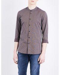 The Kooples - Purple Mandarin-collar Striped Cotton And Linen-blend Shirt for Men - Lyst