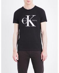 Calvin Klein - Black Logo-print Cotton T-shirt for Men - Lyst