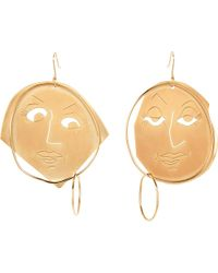 J.W.Anderson | Metallic Moon Face Gold-plated Earrings | Lyst