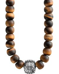 Thomas Sabo - Metallic Rebel At Heart Mala Power Sterling Silver And Tiger's Eye Bead Necklace - Lyst