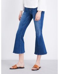 FRAME | Blue Le Crop Bell Flared High-rise Jeans | Lyst