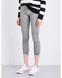 AG Jeans | Gray The Prima Crop Skinny Mid-rise Jeans | Lyst