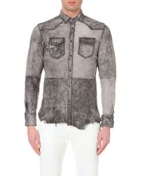 DIESEL | Gray L-sul-row Leather Shirt for Men | Lyst