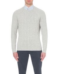 Brunello Cucinelli - Gray Cable-knit Cashmere Knitted Jumper for Men - Lyst