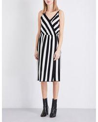 Marc Jacobs | Black Striped Crossover Crepe Midi Dress | Lyst