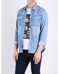 Replay | Blue Military-style Denim Shirt for Men | Lyst