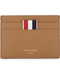 Thom Browne | Brown Pebbled Leather Card Holder for Men | Lyst