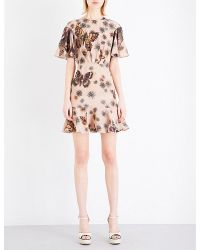 Valentino | Pink Butterfly-print Silk Dress | Lyst