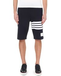 Thom Browne | Blue Striped Cotton-jersey Shorts for Men | Lyst