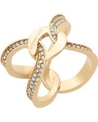 Michael Kors | Metallic Pave Crystal Interlock Ring | Lyst