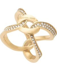 Michael Kors - Metallic Brilliance Gold-plated Pavé Ring - Lyst