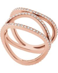 Michael Kors | Metallic Brilliance Rose-gold And Crystal Ring | Lyst