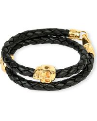 Nialaya | Metallic Braided Leather And Gold-plated Skull Bracelet for Men | Lyst
